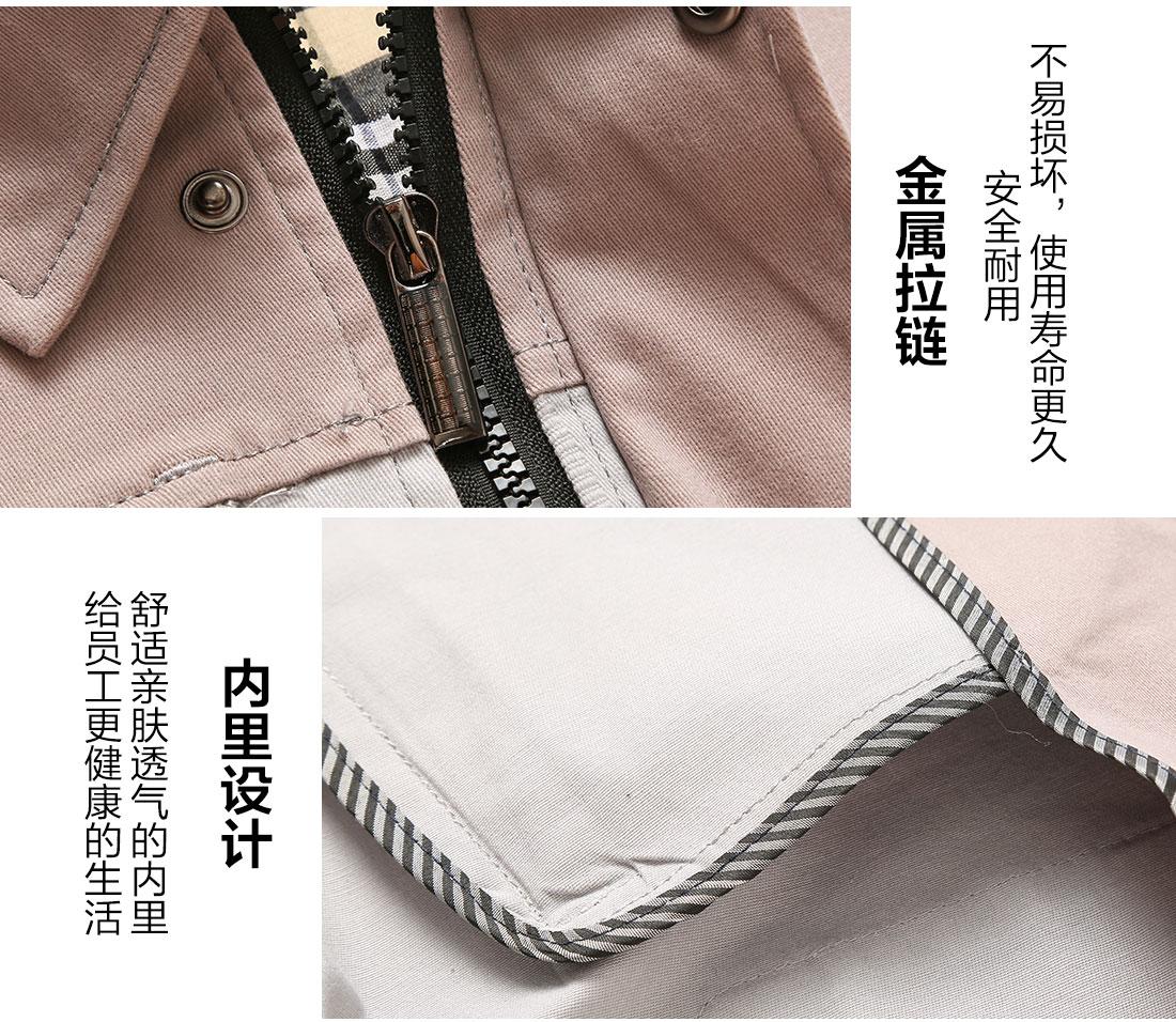 棉服工装拉链细节